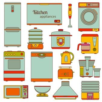 라인 아이콘의 집합입니다. 주방 기기 아이콘을 설정합니다. 삽화.