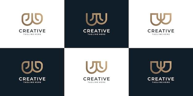 라인 문자 w 골드 로고 디자인 요소 집합