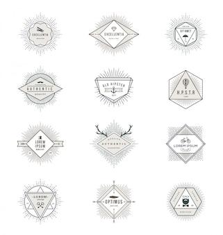 Набор линейных знаков и эмблем с лучами солнечных лучей