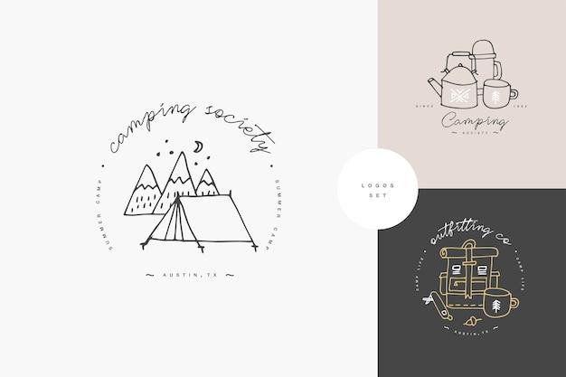 선형 캠핑 및 하이킹 아이콘 또는 로고 세트. 여행하는 직원과 함께 여행하는 상징 또는 둥근 배지.