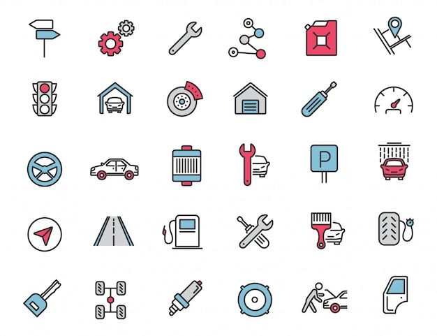 Набор иконок линейных автосервис иконки автомобилей