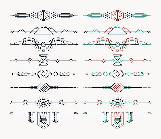 線形の空のフラットヘッダーのセット。分離された編集可能な線画デザイン要素。