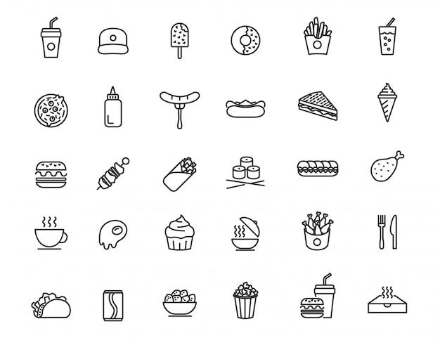 線形のファーストフードのアイコンのセット。シンプルなデザインの食べ物や飲み物のアイコン