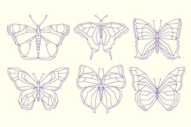 선형 평면 나비 윤곽선 세트