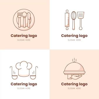 Набор линейных плоских логотипов общественного питания