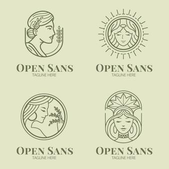 Набор линейных плоских шаблонов логотипа богини