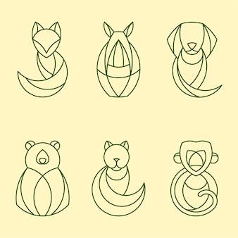 Набор линейных геометрических векторов животных
