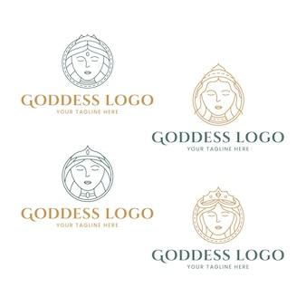 Набор шаблонов логотипов линейной богини