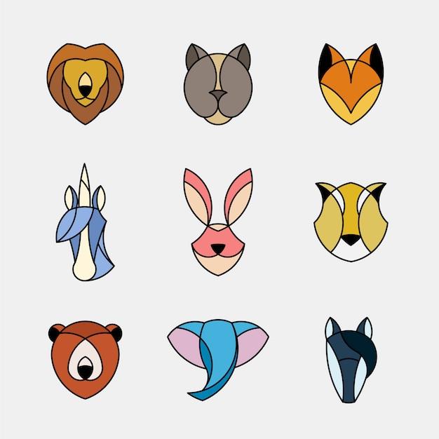動物の頭の線形グラフィックのセット