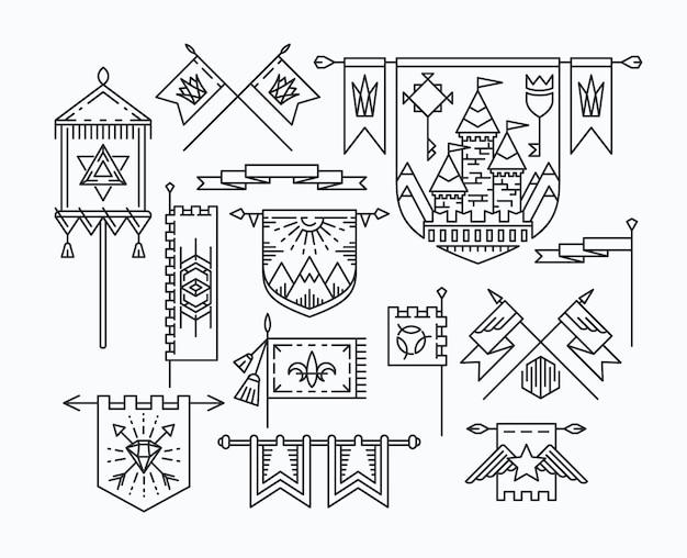 Набор линейных графических флагов, элементов дизайна в стиле битник, ретро-стандартов.