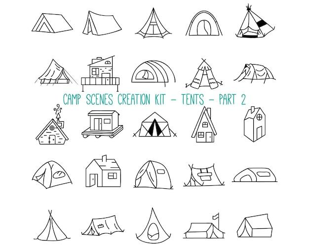 캠핑 텐트의 선형 아이콘 세트입니다. 2 부