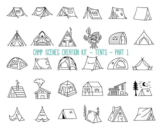 캠핑 텐트의 선형 아이콘 세트