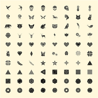 Set of linear illustrations of shapes and icons