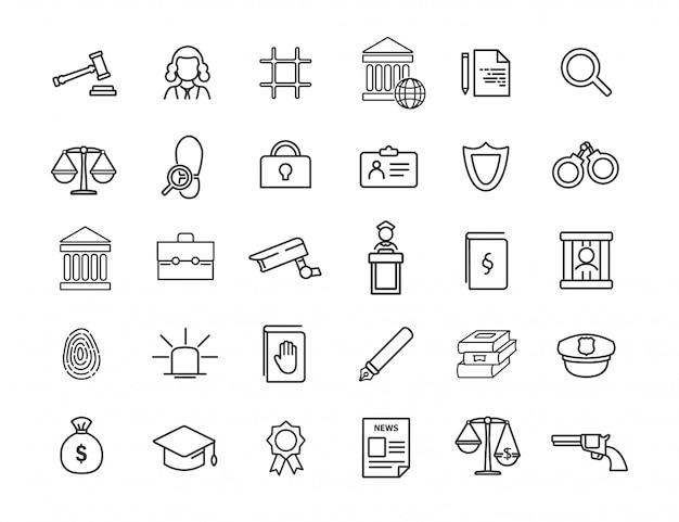 線形法学アイコンのセット。シンプルなデザインの法律アイコン。