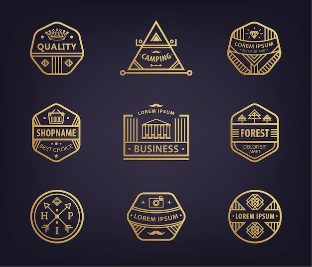 線形ロゴタイプテンプレートとバッジのセット、さまざまな流行に敏感なレトロなバッジ、ビジネス用のアイコン。プレミアムで高品質の抽象的な幾何学的ロゴ