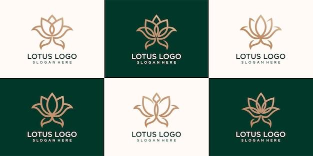 Набор иконок линейного лотоса. центр йоги, спа, салон красоты роскошный логотип. золотой цветочный символ