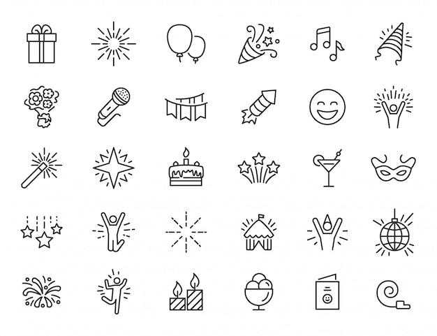 Набор иконок линейной партии. празднование иконы в простом дизайне. векторная иллюстрация