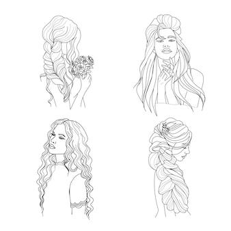 낙서 스타일의 긴 머리 벡터 일러스트와 함께 아름 다운 여자의 선형 초상화 세트