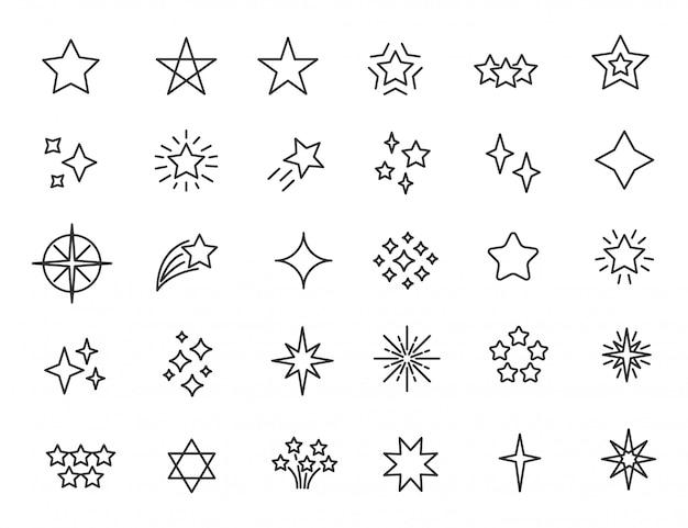Набор иконок линейных звезд звезды мерцают иконы