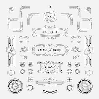 線形の細い線の境界線、幾何学的図形、フレームのコーナーを持つヴィンテージのアールデコのレトロなデザイン要素のセット