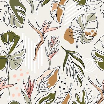 線形の様々な花、モンステラの葉と他の葉のセット。