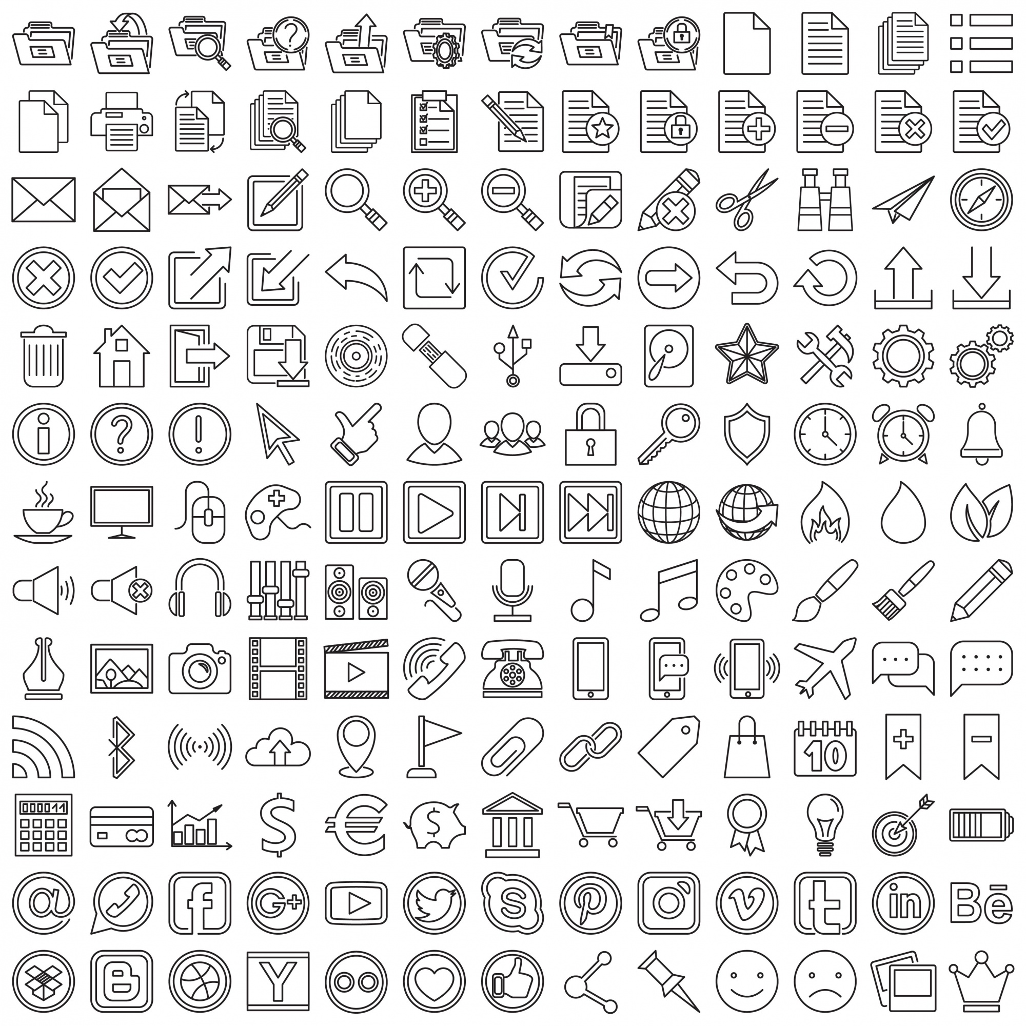 Set of linear web icons