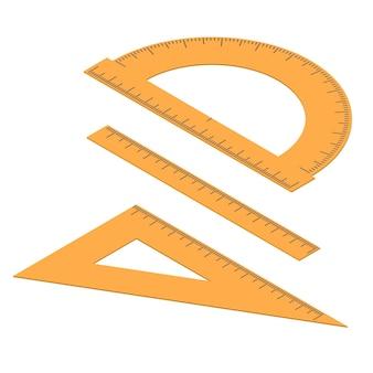 行のセット。まっすぐで角張った定規と分度器。アイソメ図で長さを測定するためのツール。センチメートル、ミリメートル、度。文房具オレンジ色。ベクトルイラスト。