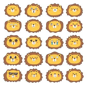 사자 얼굴 이모티콘, 귀여운 사자 캐릭터 디자인의 집합입니다.