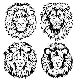ライオンの顔のセットです。たてがみとシルエットの野生の猫のコレクションです。
