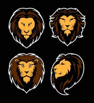 ライオンヘッドのロゴのセット。マスコットスポーツ