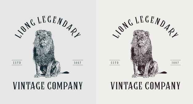 Набор старинных логотипов льва