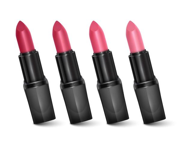 赤から淡いピンクまでの色の口紅のセット、口紅。化粧品