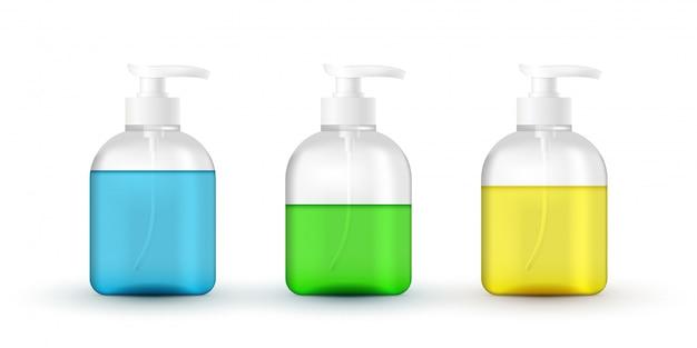 ポンプ付き液体化粧品チューブのセット。コロナウイルスの手の保護、手の消毒剤の3d現実的な容器、手洗い用ジェル。ポンプディスペンサー付きアルコール手洗いジェル。