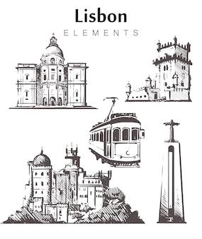 Набор зданий лиссабона, изолированные на белом