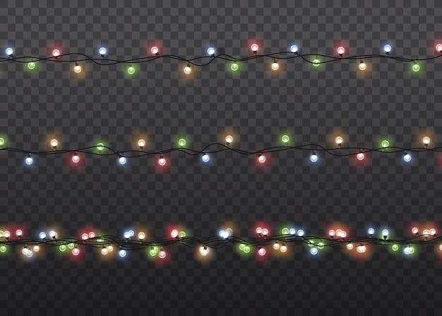 点灯している有線の花輪のセット