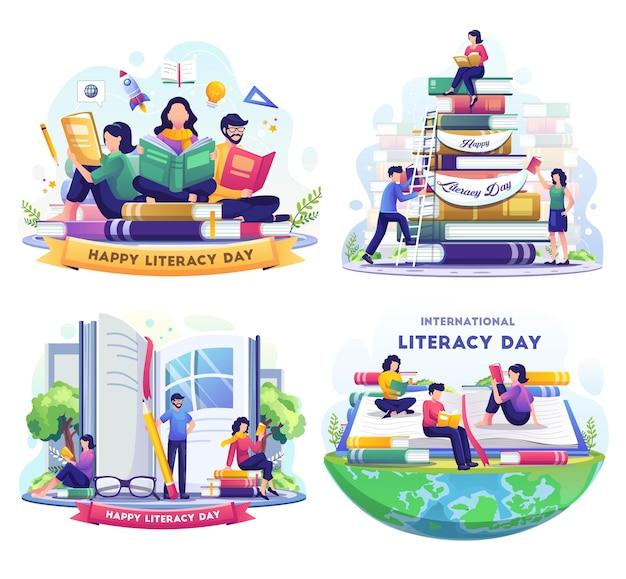 사람들이 있는 문맹 퇴치의 날 세트는 책 삽화를 읽음으로써 문맹 퇴치의 날을 축하합니다.