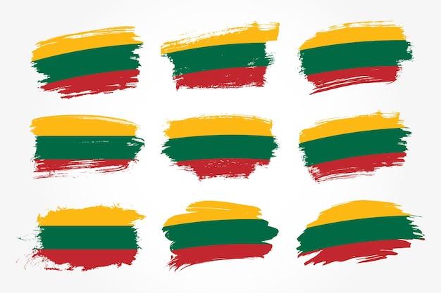 リトアニアのブラシストロークフラグコレクションのセット