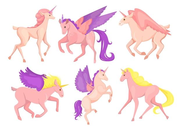 작은 귀여운 핑크 페가수스 세트. 만화 그림