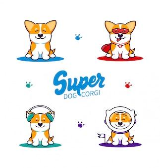 작은 개, 텍스트와 로고의 집합입니다. 재미있는 코기 만화 캐릭터, 로고 타입