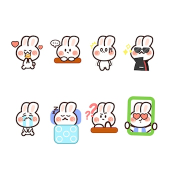 Набор little rabbit bunny expression