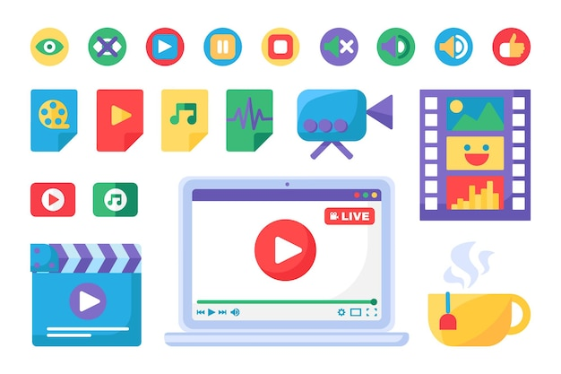Набор иконок инструментов для создания прямых трансляций
