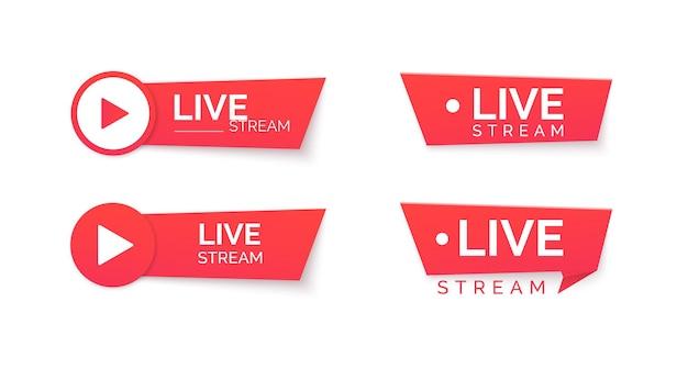 Набор иконок красный поток в прямом эфире. онлайн трансляция