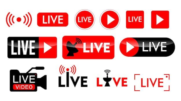평면 스타일 디자인의 라이브 스트리밍 아이콘 또는 라이브 방송 온라인 개념 세트