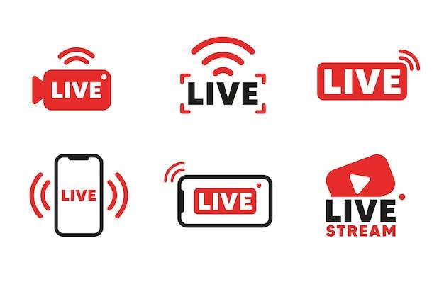 라이브 스트리밍 아이콘 및 비디오 방송 세트. 온라인 방송, 스트리밍 서비스를위한 스마트 폰 화면.