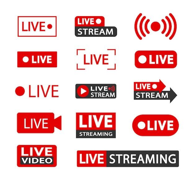 ライブストリーミングアイコンとビデオ放送のセット