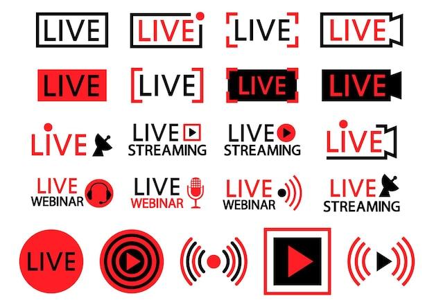 라이브 스트리밍 아이콘 세트 라이브 스트리밍 방송의 검은색과 빨간색 기호 및 버튼
