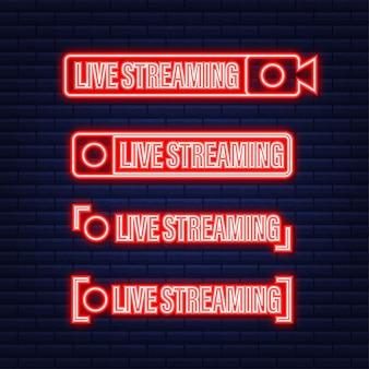 ライブストリーミングアイコンのセット。放送。ライブストリーム、オンラインストリームの赤い記号とボタン。ネオンアイコン。ベクトルストックイラスト。