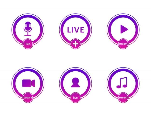ライブストリーミングアイコンのセットです。ライブストリーミング、放送、オンラインウェビナーのグラデーション記号とボタン。テレビ、番組、映画、ライブパフォーマンスのラベル。フラットの図。