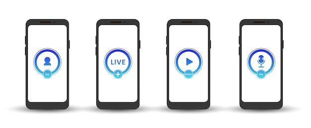 Набор иконок живого вещания. градиентные символы и кнопки прямой трансляции, трансляции, онлайн вебинара. ярлык для тв, шоу, фильмов и живых выступлений. векторная иллюстрация плоский eps10.