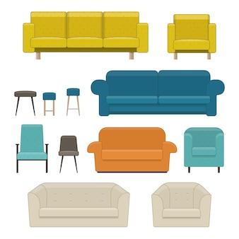 거실 가구 세트입니다. 소파, 안락의자, 의자. 평면 스타일의 벡터 일러스트 레이 션 프리미엄 벡터